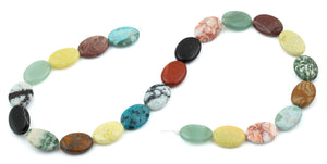 13x18MM Multi-stones Puffy Oval Gemstone Beads