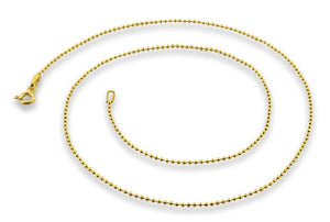 "14K Gold Plated Sterling Silver 7"" Bead Chain 1.2MM"