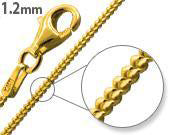 14K Gold Plated Sterling Silver Curb Chain 1.2MM