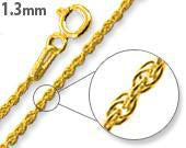 14K Gold Plated Sterling Silver Rope Chain 1.3MM