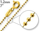 "Load image into Gallery viewer, 14K Gold Plated Sterling Silver 7"" Bead Chain 1.2MM"