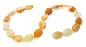 15x20mm Drop Yellow Quartz Gem Stone Beads