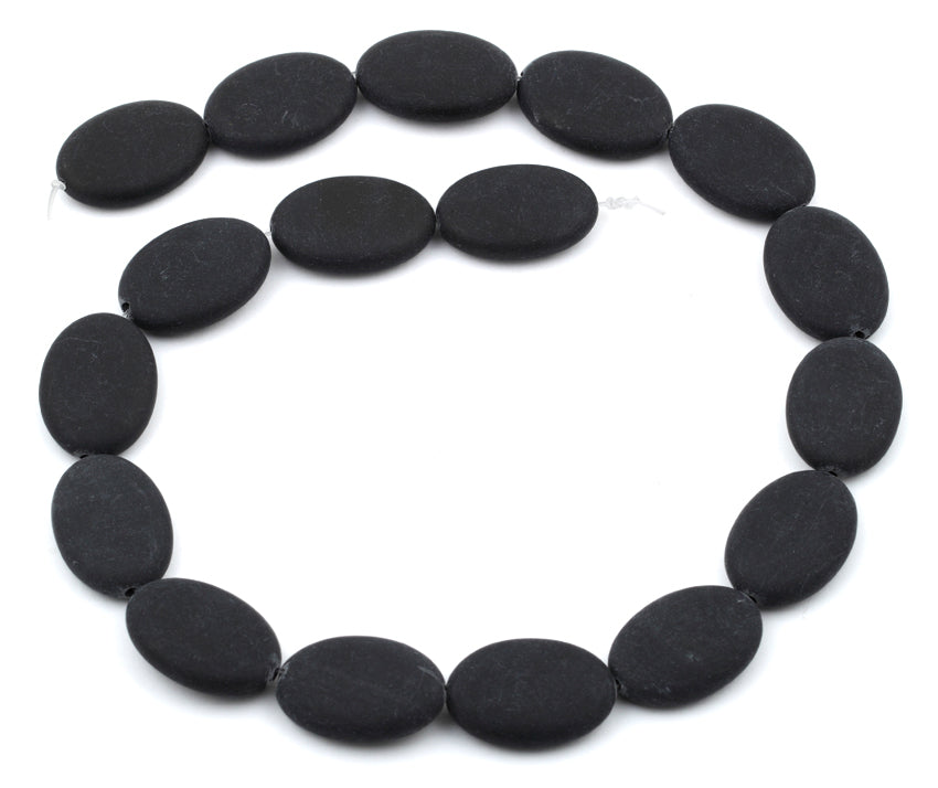 17x24MM Frosted Blackstone Oval Gemstone Beads