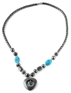 "18"" Double Heart Turquoise Hematite Necklace"