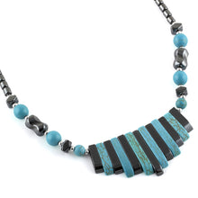 "Load image into Gallery viewer, 18"" Elegant Turquoise & Hematite Necklace"