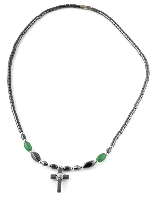 "18"" Small Cross w/ Green Beads Hematite Necklace"