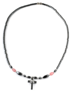 "18"" Small Cross w/ Pink Beads Hematite Necklace"