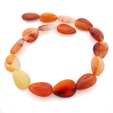 Load image into Gallery viewer, 18x25mm Pear Natural Carnelian Gem Stone Beads