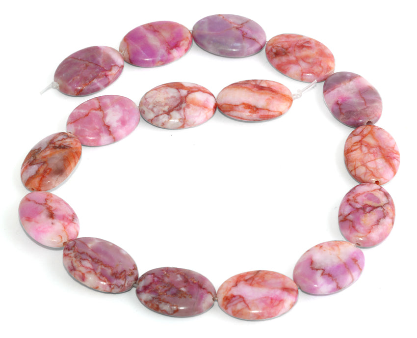 18x25MM Pink Matrix Oval Gemstone Beads