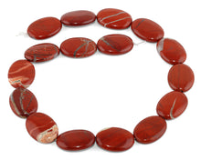 Load image into Gallery viewer, 18x25MM Red Stripe Jasper Oval Gemstone Beads