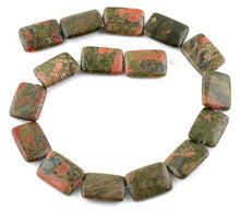 Load image into Gallery viewer, 18x25MM Unakite Rectangular Gemstone Beads