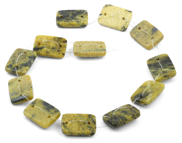 18x25mm Yellow Turtle Jasper Rectangular Beads