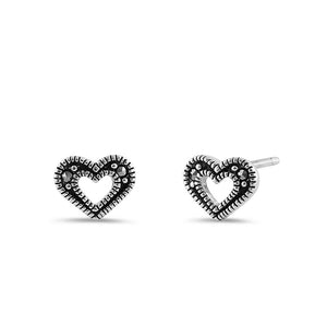Sterling Silver Marcasite Heart Earrings