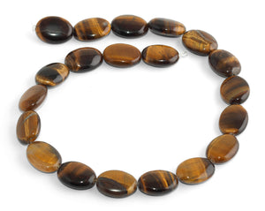 20x15MM Tiger Eye Puffy Oval Gemstone Beads