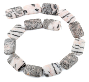 20x30MM Pink Zebra Jasper Rectangular Gemstone Beads