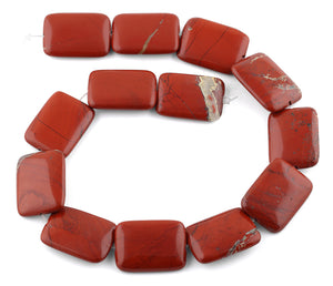 22x30MM Red Stripe Jasper Rectangular Gemstone Beads