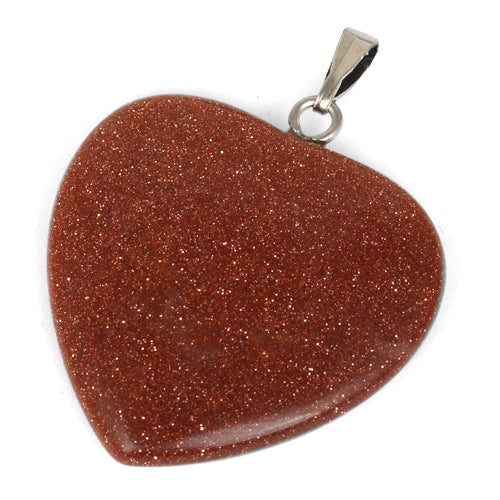 25mm Rust Sparkle Heart Pendant