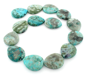 25x30mm Drop Turquoise Jasper Gem Stone Beads