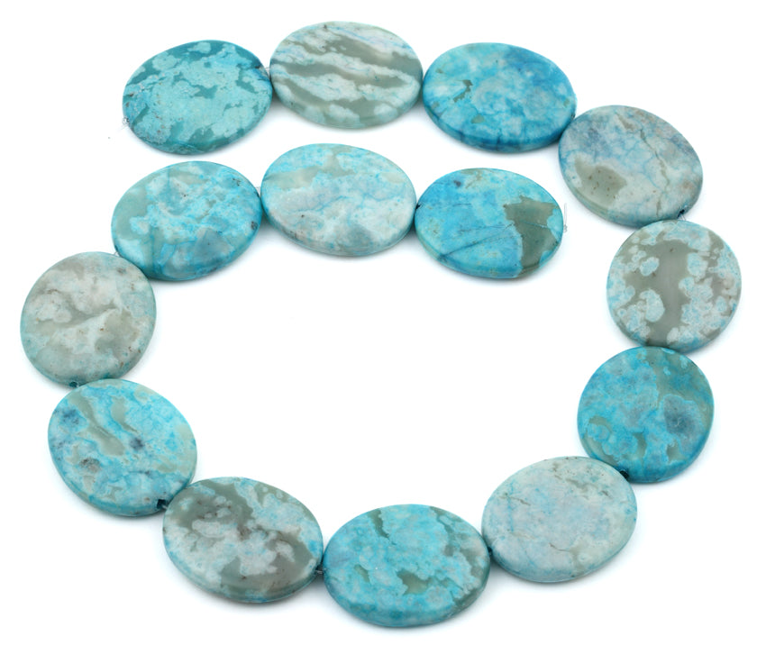 25x30MM Dyed Turquoise Jasper Oval Gemstone Beads