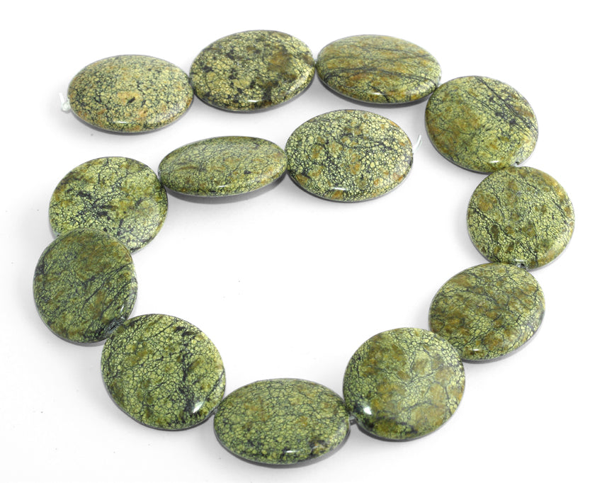 25x30MM Russian Serpentine Jade Puffy Oval Gemstone Beads