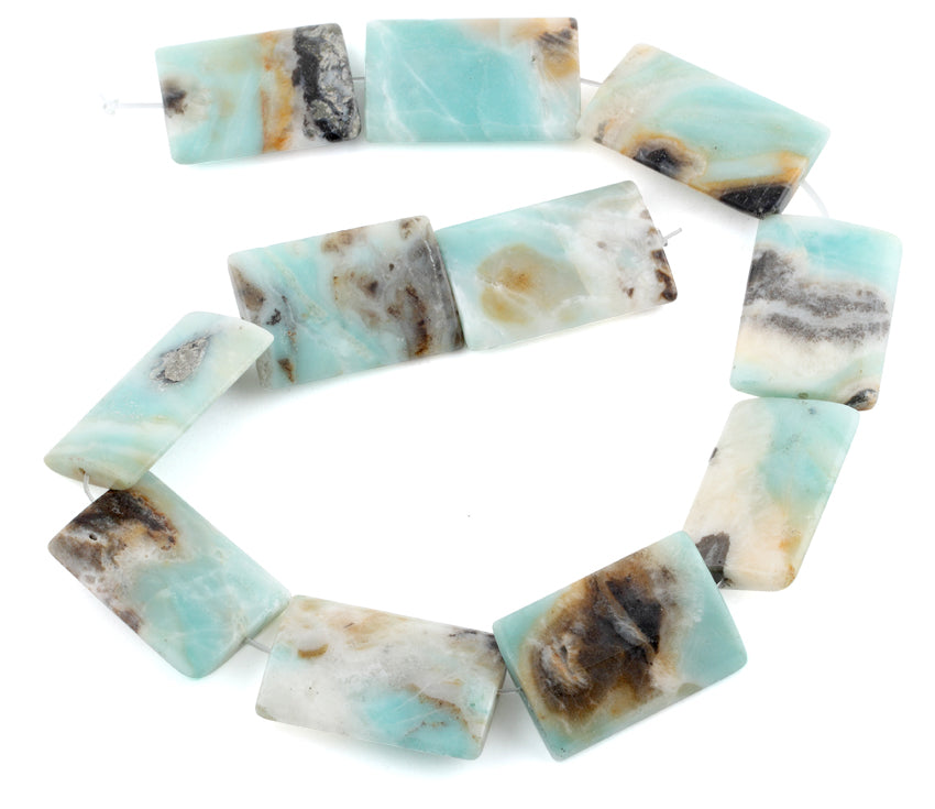25x35MM Black Gold Amazonite Rectangular Gemstone Beads