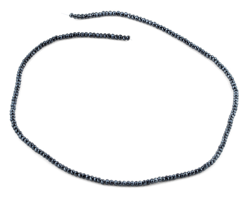 2mm Charcoal Faceted Rondelle Crystal Beads