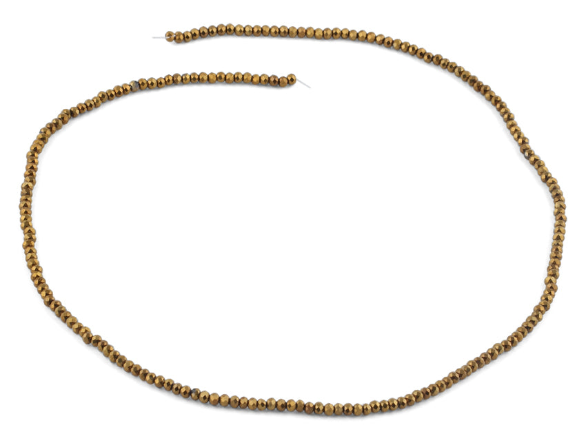 2mm Gold Faceted Rondelle Crystal Beads