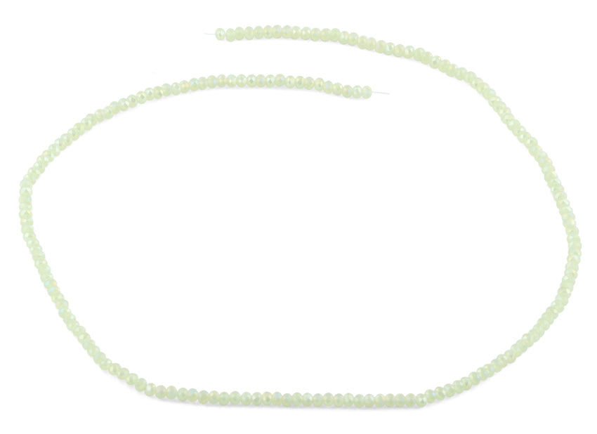 2mm Light Green Faceted Rondelle Crystal Beads
