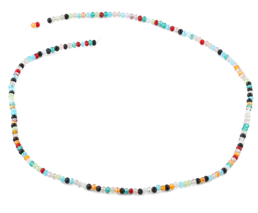 2mm Rainbow Faceted Rondelle Crystal Beads
