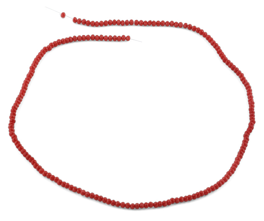 2mm Scarlet Faceted Rondelle Crystal Beads