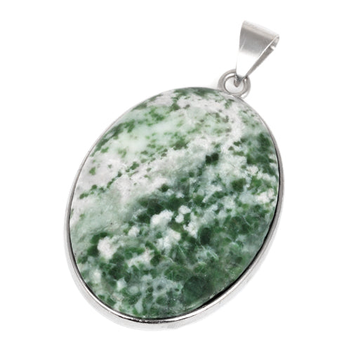 30X40MM Oval Green Spot Agate Gemstone Pendant
