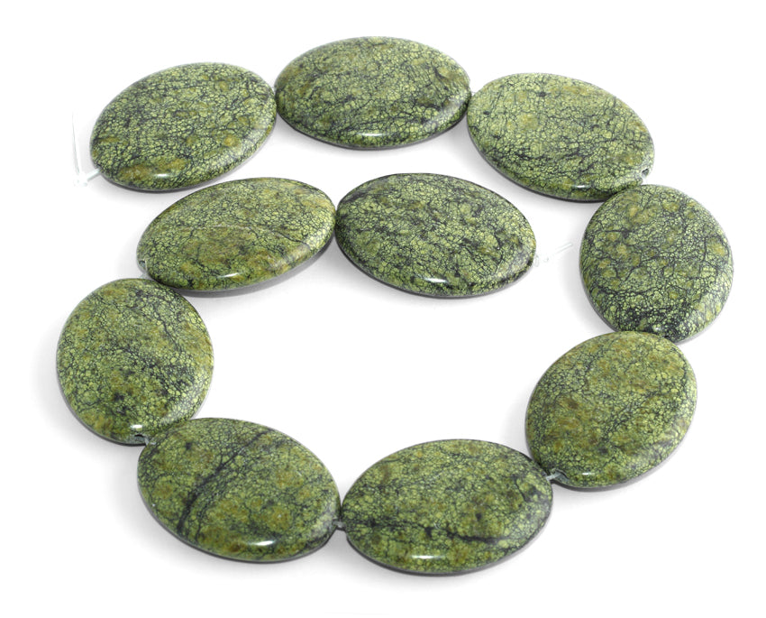 30x40MM Russian Serpentine Jade Puffy Oval Gemstone Beads