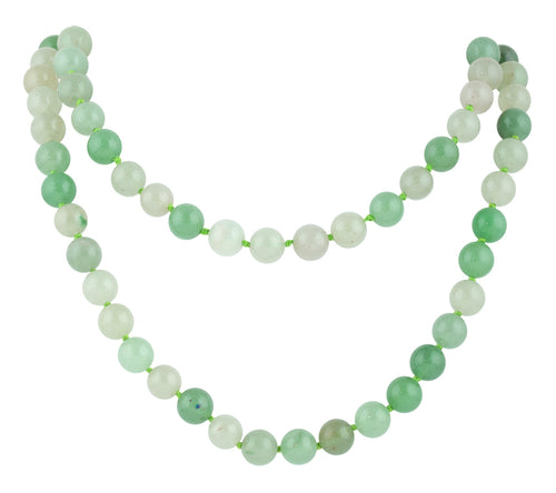 "32"" 8mm Green Aventurine Round Gemstone Bead Necklace"