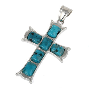 34x52mm Cushion Aqua Quartz Inlay Frame Cross Pendant
