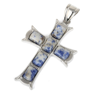 34x52mm Cushion Brazil Sodalite Inlay Frame Cross Pendant