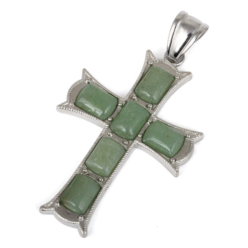 34x52mm Cushion Green Aventurine Inlay Frame Cross Pendant