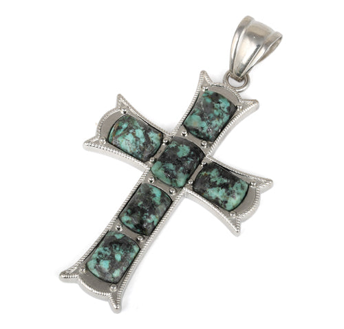 34x52mm Cushion Rectangle African Turquoise Inlay Frame Cross Pendant