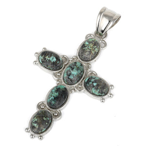 34x52mm Oval African Turquoise Inlay Frame Cross Pendant