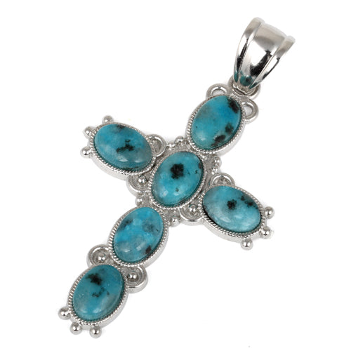 34x52mm Oval Aqua Quartz Inlay Frame Cross Pendant