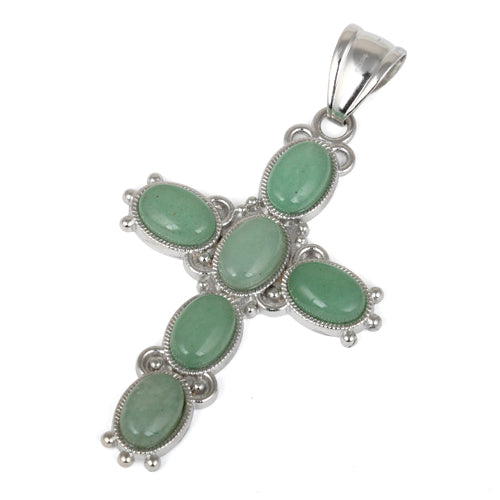 34x52mm Oval Green Aventurine Inlay Frame Cross Pendant