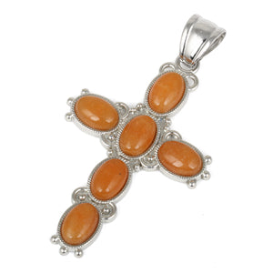 34x52mm Oval Red Aventurine Inlay Frame Cross Pendant