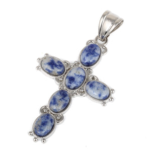 34x52mm Oval Sodalite Inlay Frame Cross Pendant