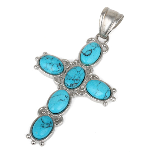 34x52mm Oval Synthetic Turquoise/Matrix Inlay Frame Cross Pendant