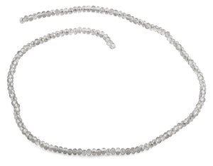 3mm Grey Faceted Rondelle Glass Beads
