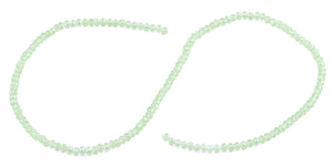 3mm Light Green Faceted Rondelle Glass Beads