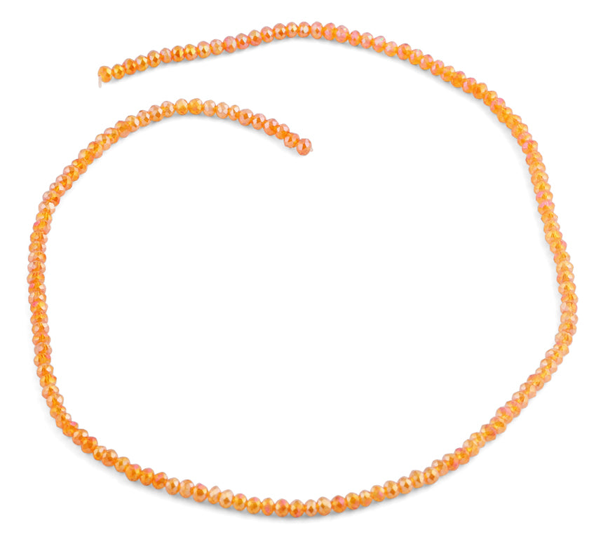 3mm Orange Faceted Rondelle Glass Beads