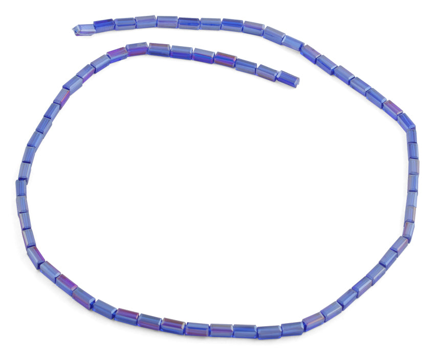 3X6mm Blue Rectangle Faceted Crystal Beads