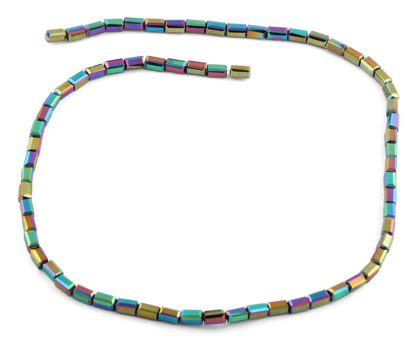 3X6mm Rainbow Rectangle Faceted Crystal Beads