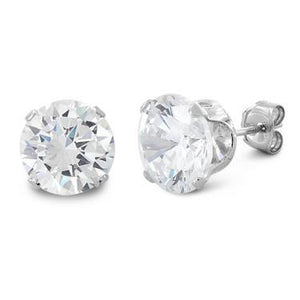 4 ct Sterling Silver CZ Stud Earrings 8MM