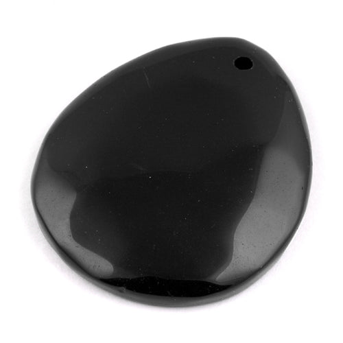 40X50MM Black Agate Drop Gem Stone Pendant